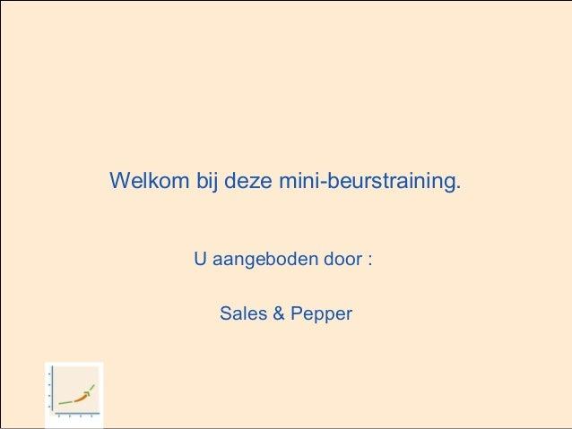Welkom bij deze mini-beurstraining. U aangeboden door : Sales & Pepper