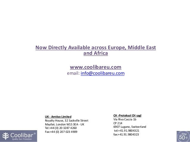 Now Directly Available across Europe, Middle East and Africa www.coolibareu.com email: info@coolibareu.com UK - Amtivo Lim...
