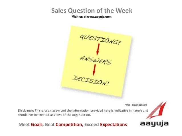 Sales Question of the Week