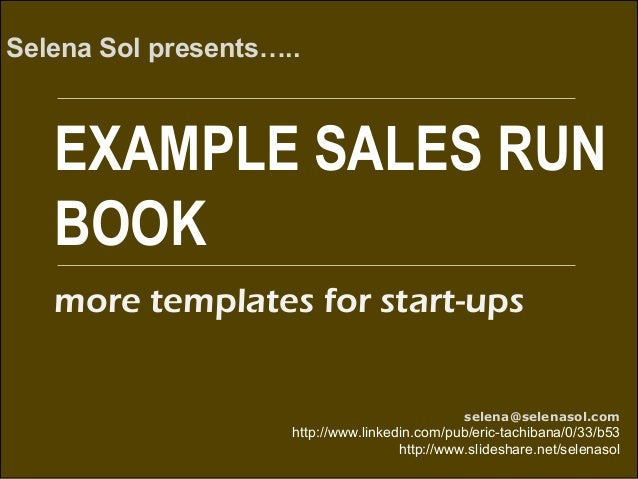 Example Sales Run Book
