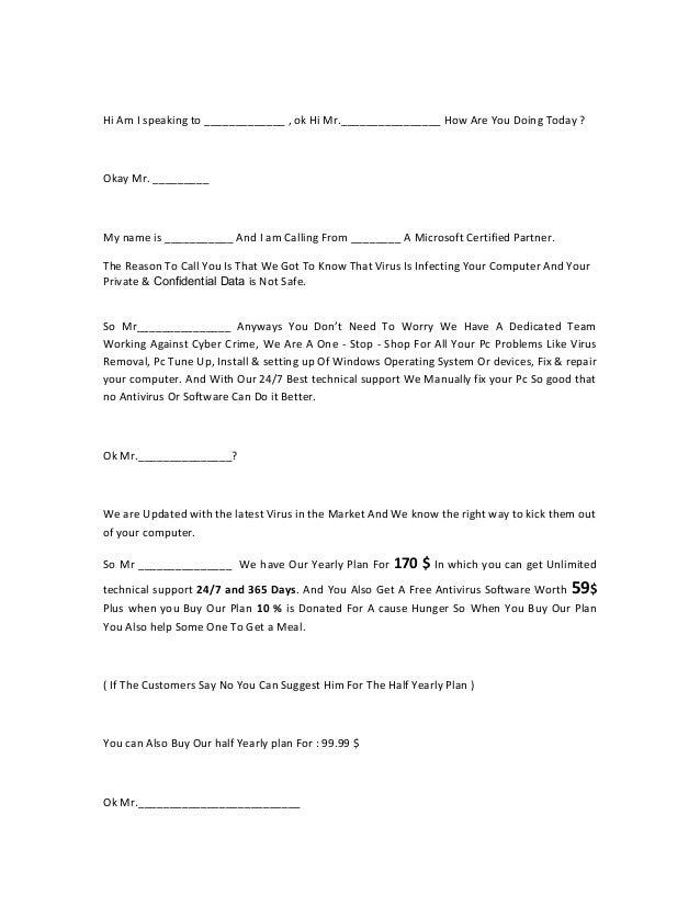 Sales script demo for Cold call script template