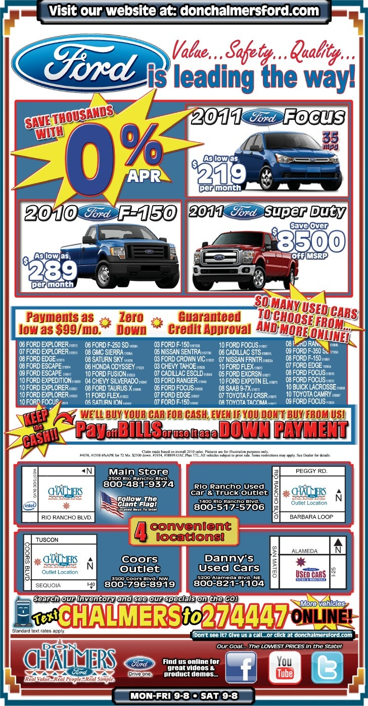 Sales special at don chalmers ford rio rancho nm