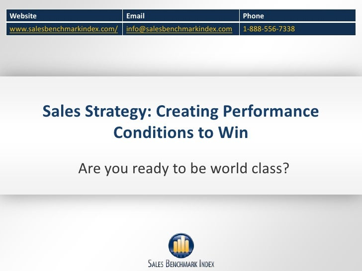 Sales Strategy - Creating Winning Performance Conditions