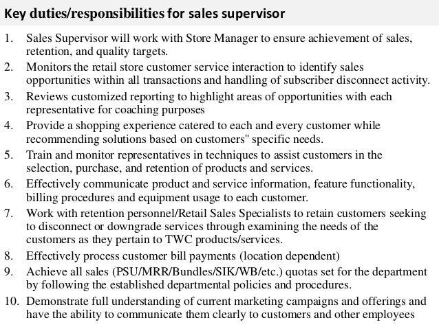 customer service supervisor job description