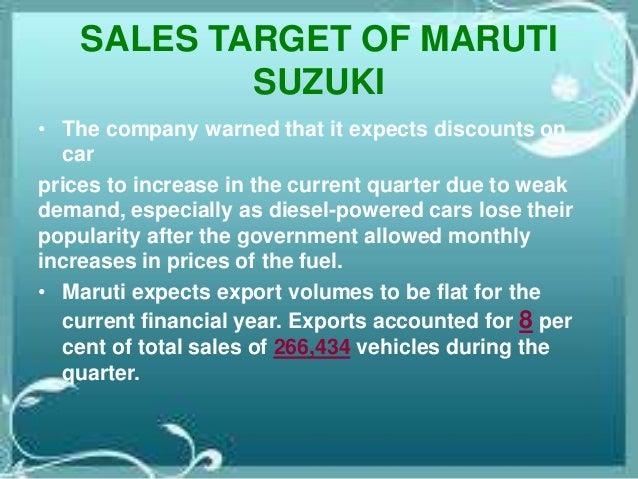 Sales target of maruti suzuki