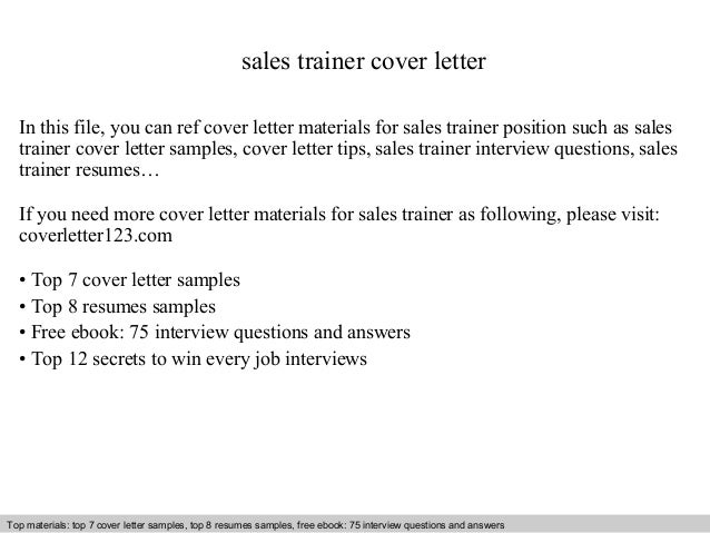 Sales Trainer Cover Letter1 sales trainer cover letter In this file, you can ref cover letter materials for sales ...