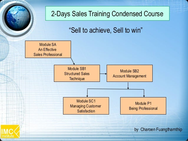 Module SA An Effective Sales Professional Module SB1 Structured Sales Technique Module P1 Being Professional Module SB2 Ac...