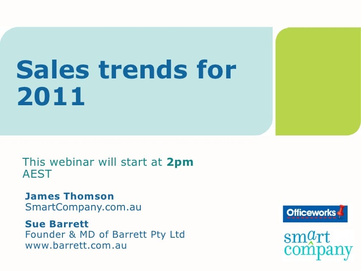 Sales trends for 2011