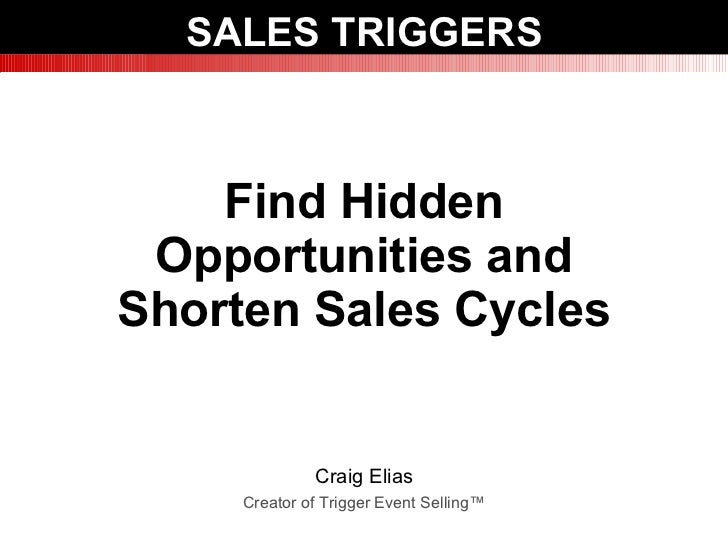 Trigger Event Selling: How to Find Hidden Opportunities & Shorten Sales Cycles. Presented by Craig Elias at the Sales 2.0 conference in Boston in June 2010