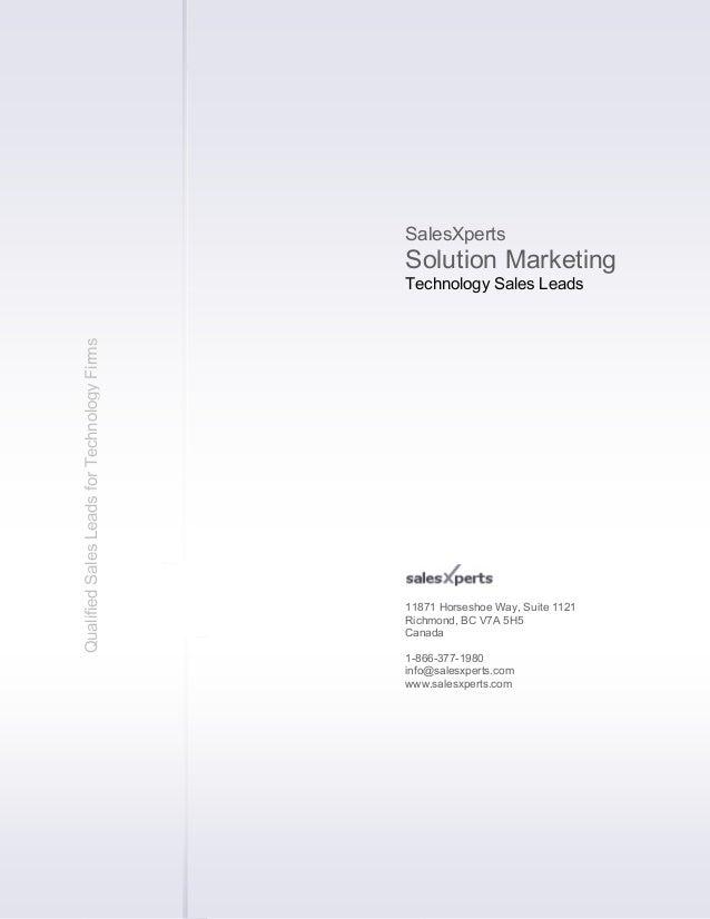 Business Development Solution Marketing - Technology Sales Leads