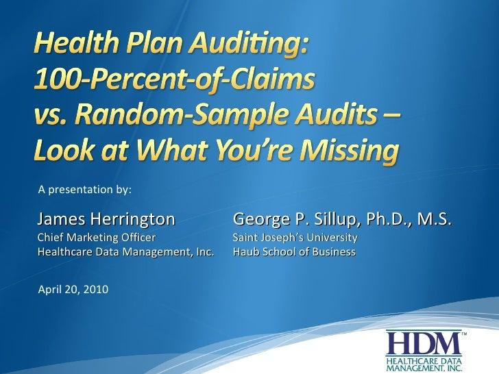 Health Plan Auditing