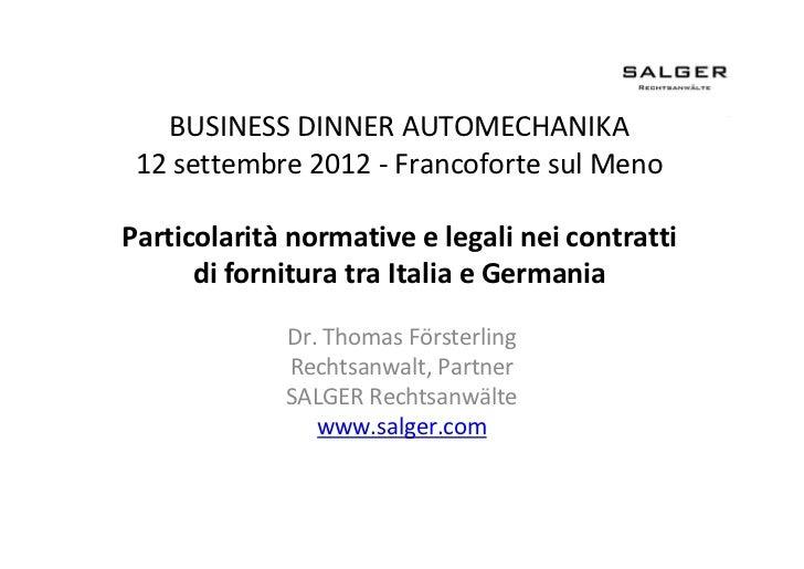 Particolarità normative e legali nei contratti di fornitura tra Italia e Germania
