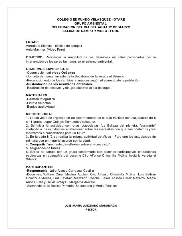 COLEGIO EDMUNDO VELASQUEZ - OTARE GRUPO AMBIENTAL CELEBRACION DEL DIA DEL AGUA 22 DE MARZO SALIDA DE CAMPO Y VIDEO - FORO ...
