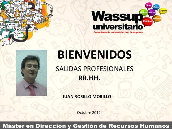 Salidas Profesionales en RRHH - Conferencia de Juan ROsillo