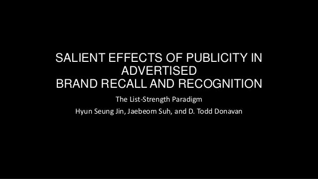 SALIENT EFFECTS OF PUBLICITY IN ADVERTISED BRAND RECALL AND RECOGNITION The List-Strength Paradigm Hyun Seung Jin, Jaebeom...