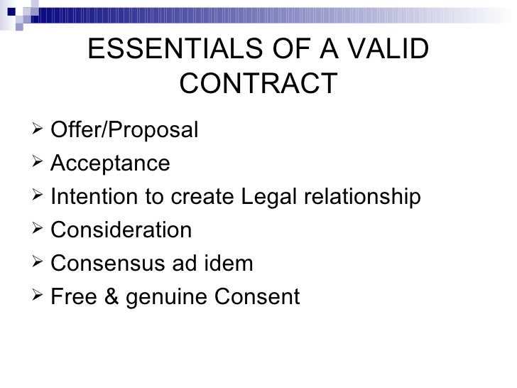 Explain The Importance Of The Essential Elements Required For The Formation  Of A Valid Contract