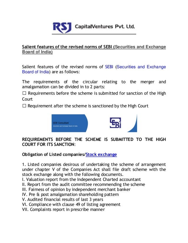 Salient features of the revised norms of securities and exchange board of india (sebi consultant)