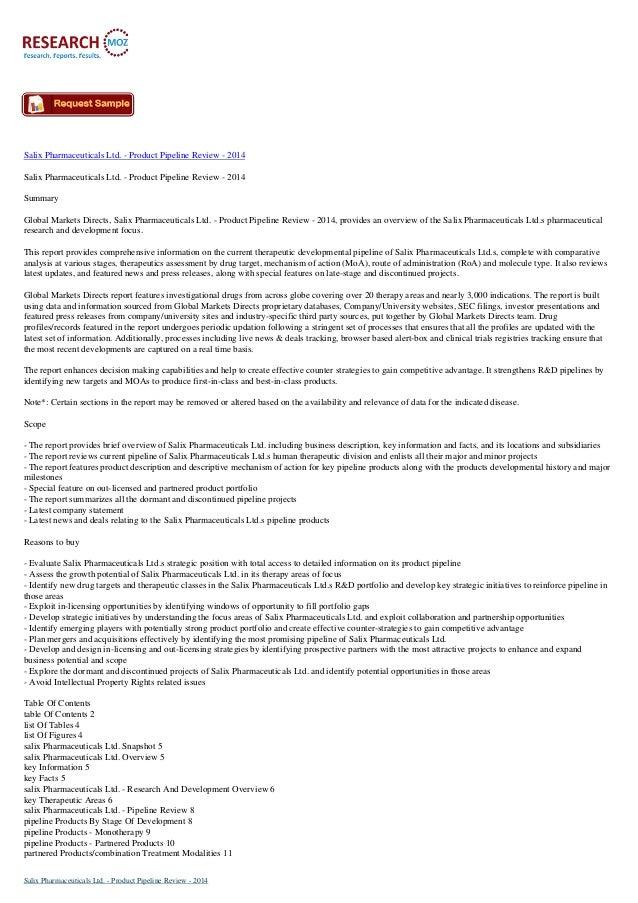 Salix Pharmaceuticals Ltd. - Product Pipeline Review - 2014 Salix Pharmaceuticals Ltd. - Product Pipeline Review - 2014 Su...