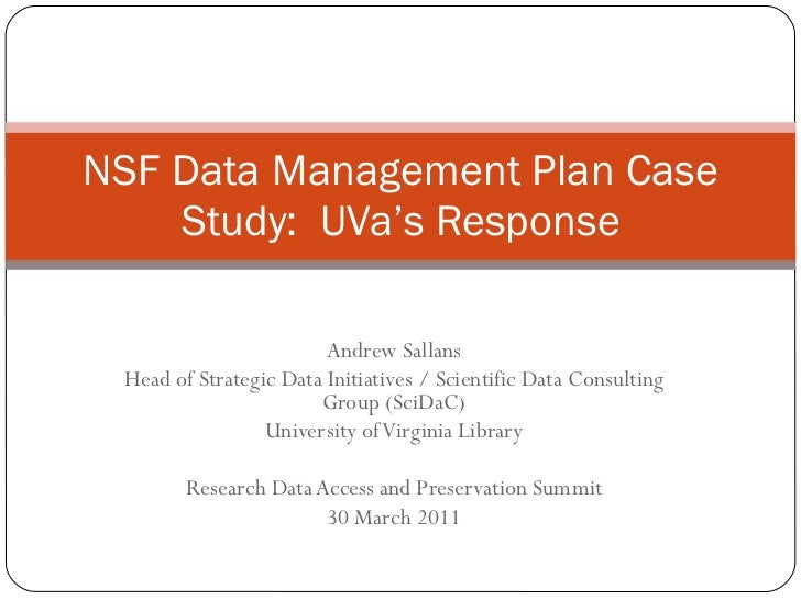 Sallans RDAP11 NSF Data Management Plan Case Studies