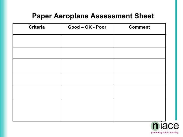Assessment Paper Paper Aeroplane Assessment