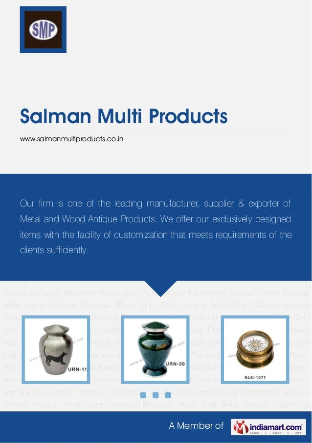 A Member ofSalman Multi Productswww.salmanmultiproducts.co.inBrass Cremation Urn Cremation Aluminum Urn Nautical Sundial C...