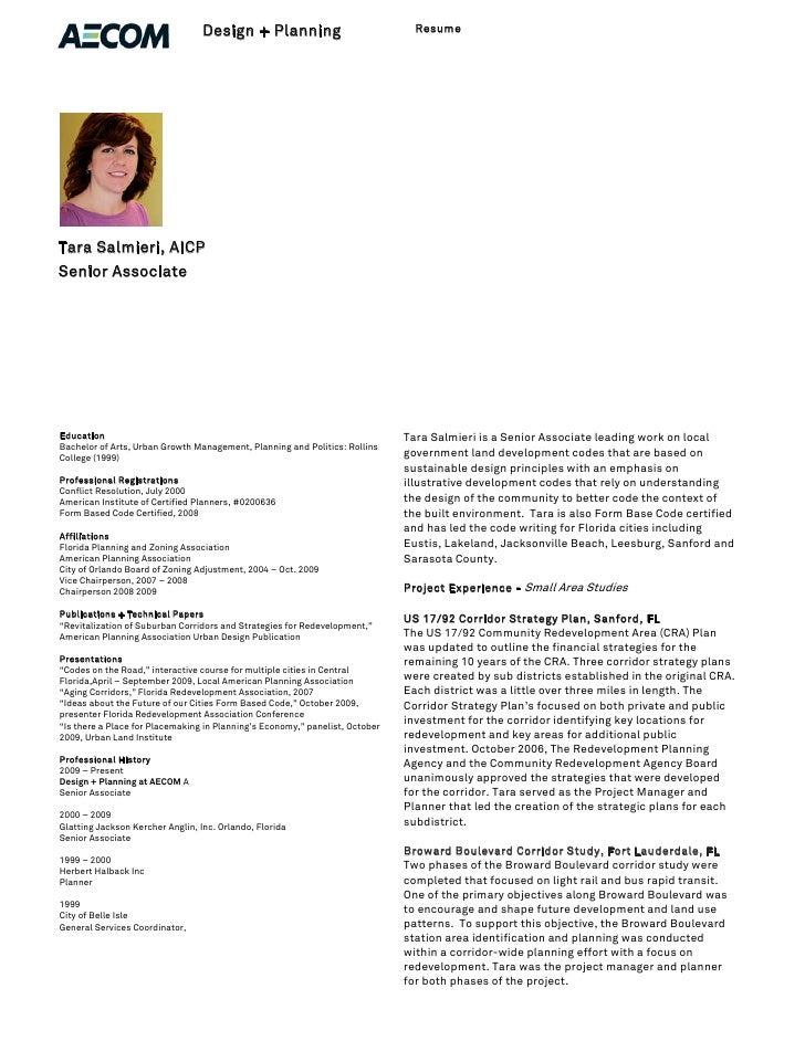 Design + Planning                             Resume     Tara Salmieri, AICP Senior Associate     Education               ...