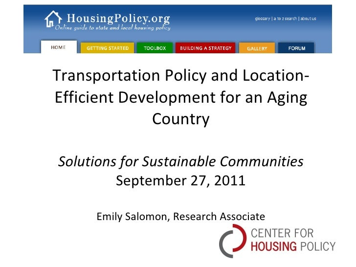 Transportation Policy and Location-Efficient Development for an Aging Country Solutions for Sustainable Communities Septem...