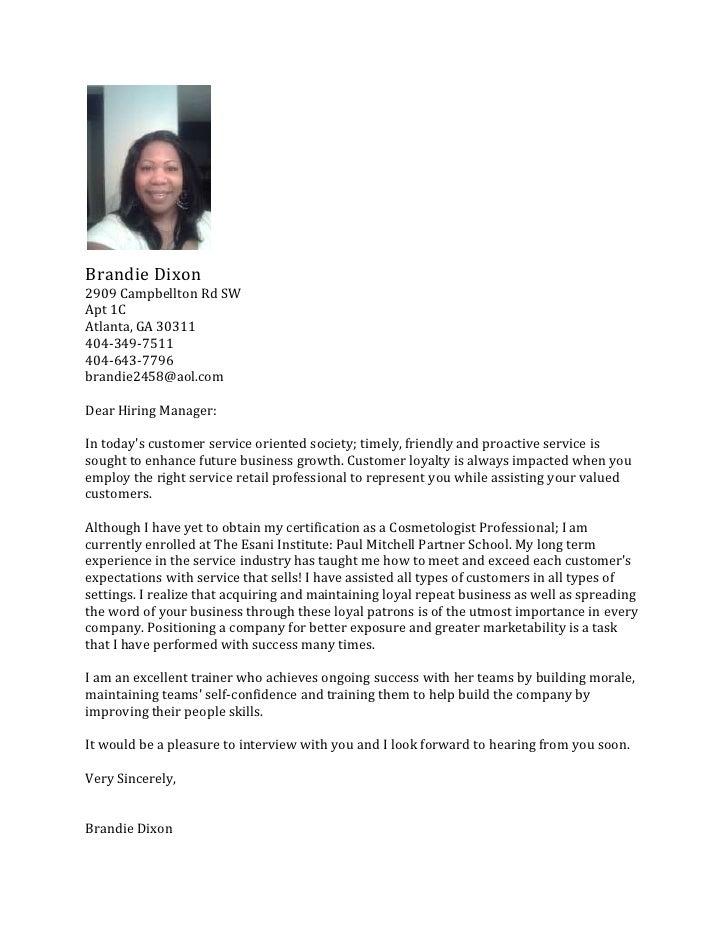 Salon Cover Letter