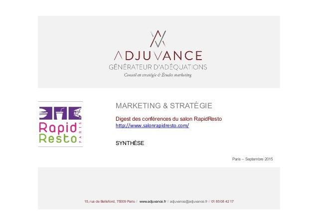 15, rue de Bellefond, 75009 Paris // www.adjuvance.fr // adjuvance@adjuvance.fr // 01 85 08 42 17 MARKETING & STRATÉGIE Di...