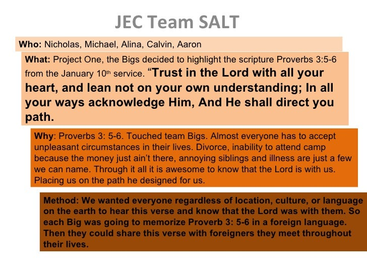 JEC Team SALT Who:  Nicholas, Michael, Alina, Calvin, Aaron  What:  Project One, the Bigs decided to highlight the scriptu...