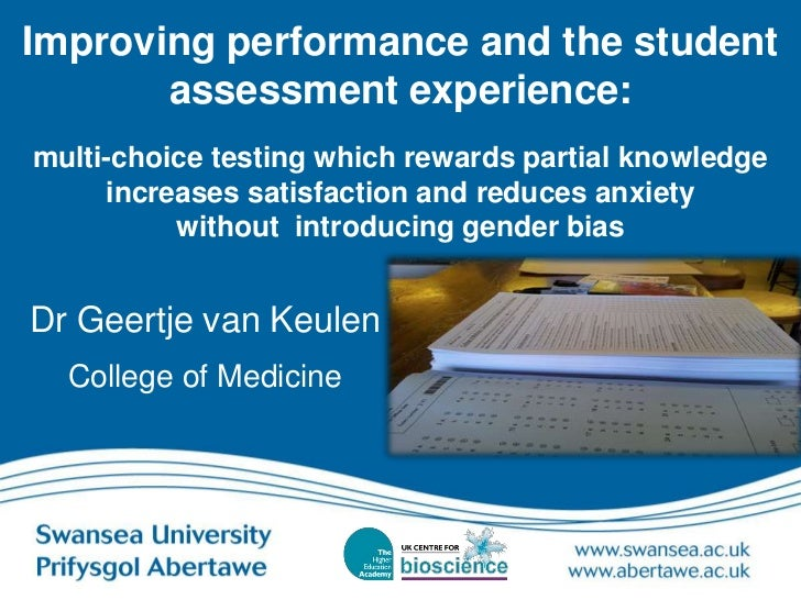 Improving performance and the student       assessment experience:multi-choice testing which rewards partial knowledge    ...