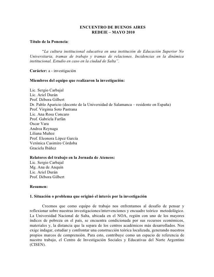 """ENCUENTRO DE BUENOS AIRES                                   REDEIE – MAYO 2010  Título de la Ponencia:          """"La cultur..."""