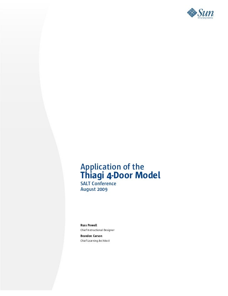 Application of the Thiagi 4-Door Model SALT Conference August 2009     Russ Powell Chief Instructional Designer  Brandon C...