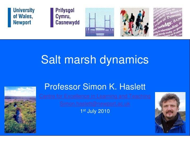 Salt marsh dynamics<br />Professor Simon K. Haslett<br />Centre for Excellence in Learning and Teaching<br />Simon.haslett...