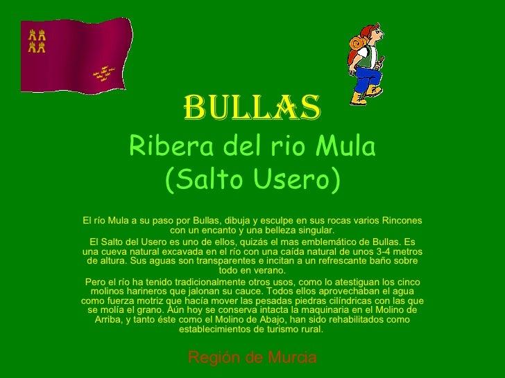 BULLAS Ribera del rio Mula (Salto Usero) El río Mula a su paso por Bullas, dibuja y esculpe en sus rocas varios Rincones c...