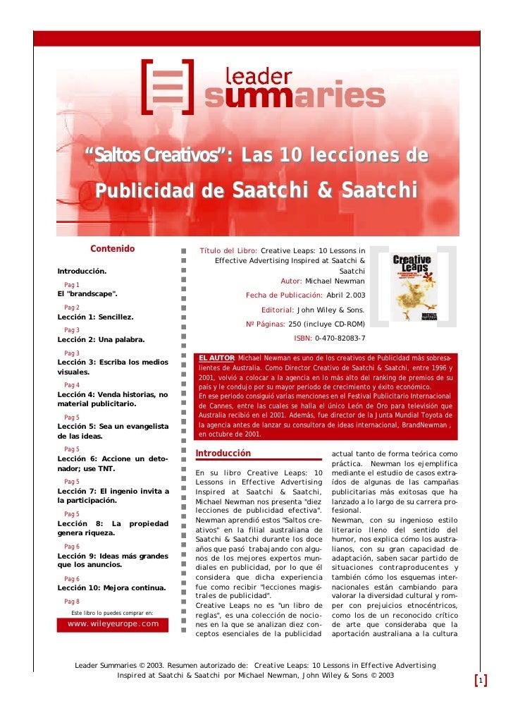"""""""Saltos Creativos"""": Las 10 lecciones de             Publicidad de Saatchi & Saatchi            Contenido                  ..."""