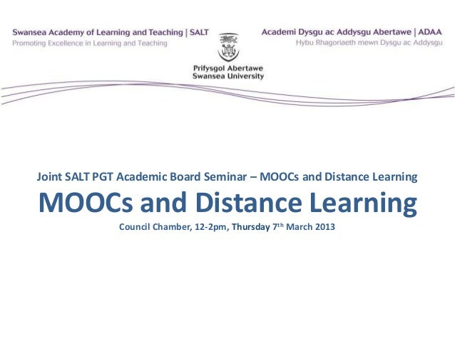 MOOCs and Distance Learning - What's all the fuss about?