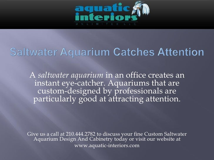 A saltwater aquarium in an office creates an instant eye-catcher. Aquariums that are  custom-designed by professionals are...