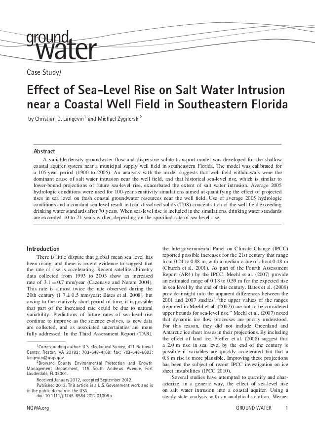 Case Study/  Effect of Sea-Level Rise on Salt Water Intrusion near a Coastal Well Field in Southeastern Florida by Christi...