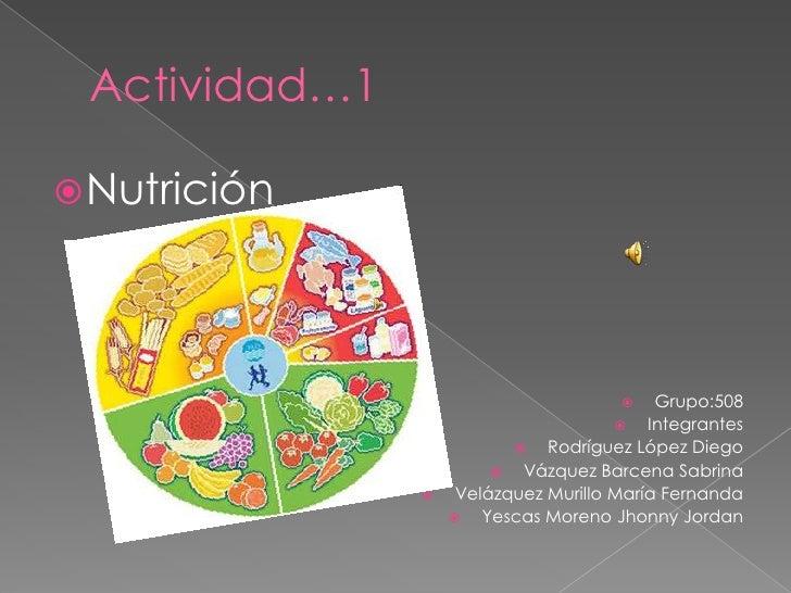 Actividad…1<br />Nutrición<br />Grupo:508 <br />Integrantes <br />Rodríguez López Diego<br />Vázquez Barcena Sabrina<br />...