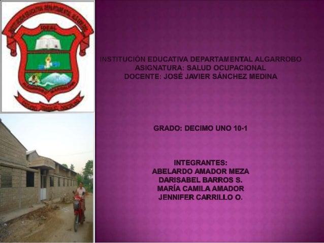 Tipos de riesgosque se presentan en la institución   FACTORES DE RIESGOS ALTOS DE LA SEDE EL    educativa        CARMEN   ...