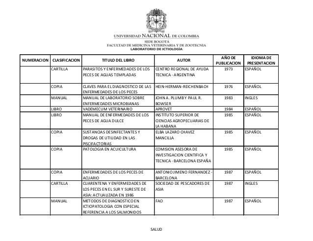 CARTILLA PARASITOS Y ENFERMEDADES DE LOSPECES DE AGUAS TEMPLADASCENTRO REGIONAL DE AYUDATECNICA - ARGENTINA1973 ESPAÑOLCOP...