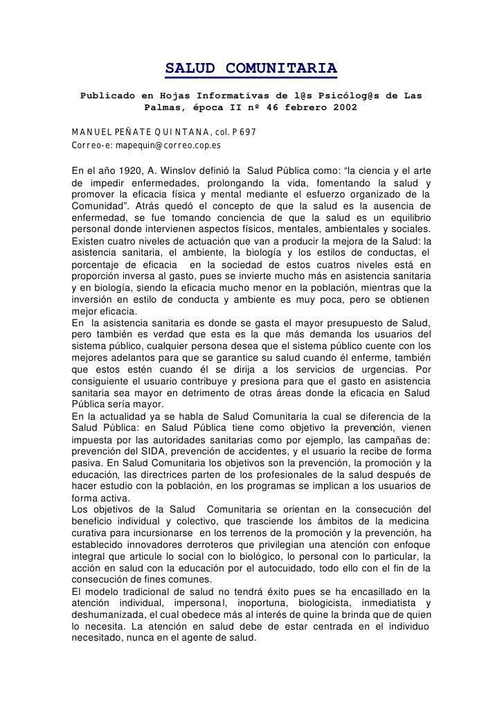 SALUD COMUNITARIA  Publicado en Hojas Informativas de l@s Psicólog@s de Las            Palmas, época II nº 46 febrero 2002...