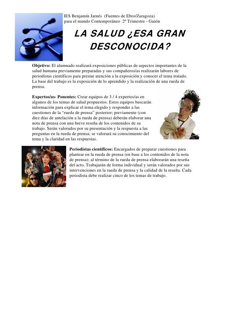 IES Benjamín Jarnés (Fuentes de Ebro/Zaragoza) Trabajo Ciencias para el mundo Contemporáneo 2º Trimestre - Guión          ...