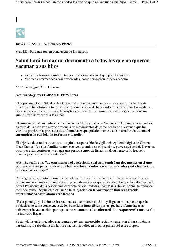 Salud hará firmar un documento a todos los que no quieran vacunar a sus hijos | Barce... Page 1 of 2|Jueves 19/05/2011. Ac...