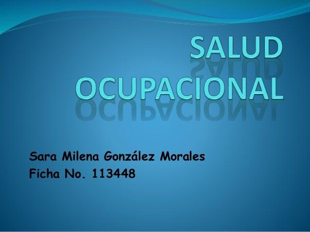 Sara Milena González Morales Ficha No. 113448