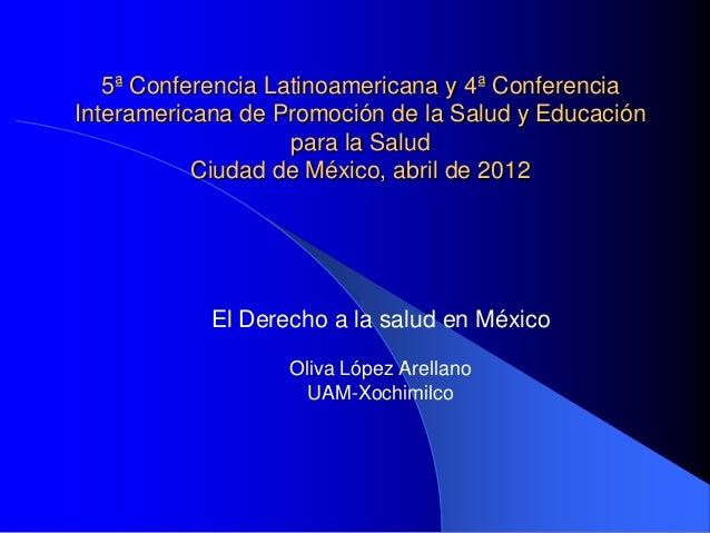 5ª Conferencia Latinoamericana y 4ª Conferencia Interamericana de Promoción de la Salud y Educación para la Salud Ciudad d...