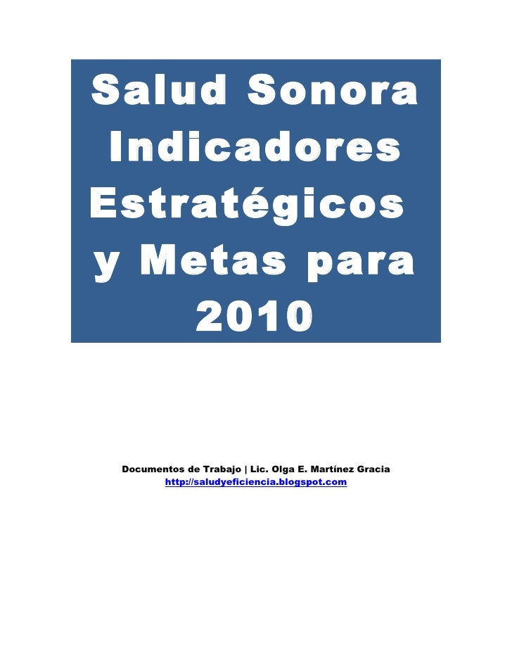 Salud Sonora Indicadores 2010 Olga E Martinez G