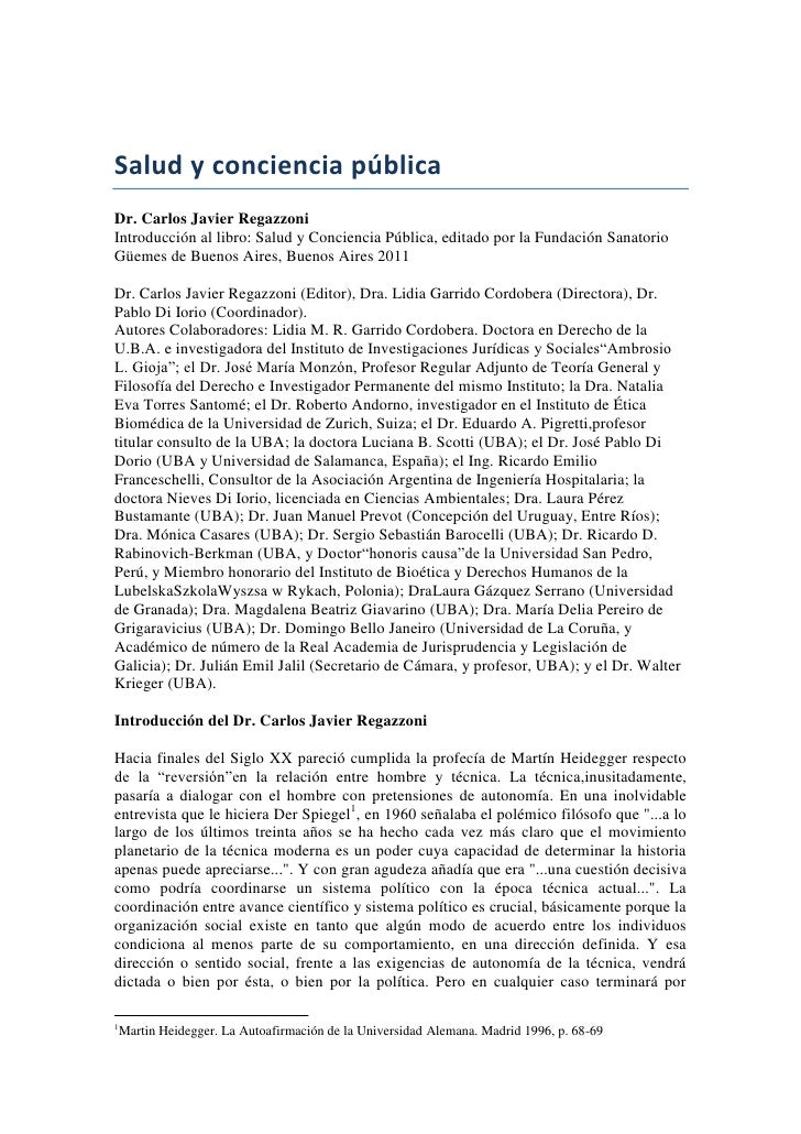 Salud y conciencia pública<br />Dr. Carlos Javier Regazzoni<br />Introducción al libro: Salud y Conciencia Pública, editad...