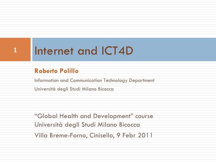 """Roberto Polillo Information and Communication Technology Department Università degli Studi Milano Bicocca """" Global Health ..."""